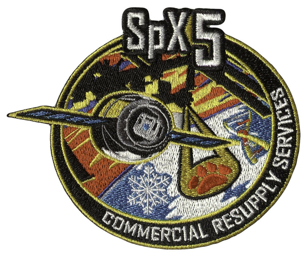 Custom patch for Space-X five commercial resupply services.