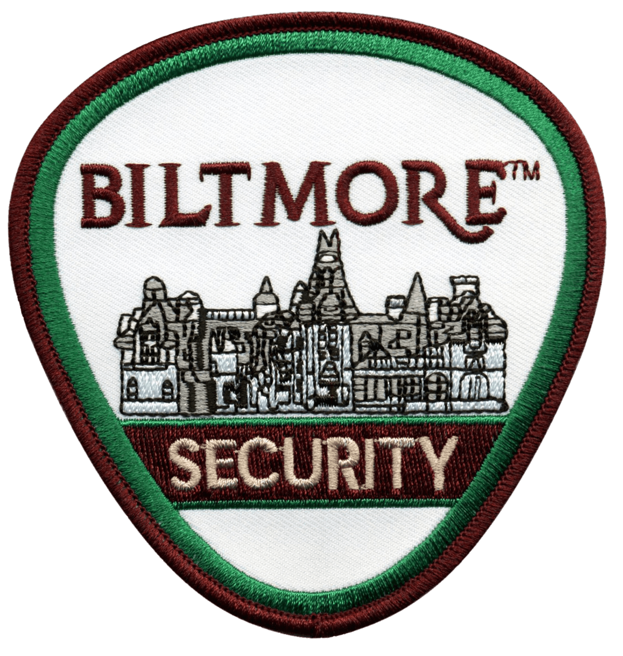 "A shield-shaped custom patch for the Biltmore Estate's Security force. It features very detailed embroidery of the house as the feature. A dark red and green border surrounds the house, the words ""Biltmore"", ""Security"", all on a white background."