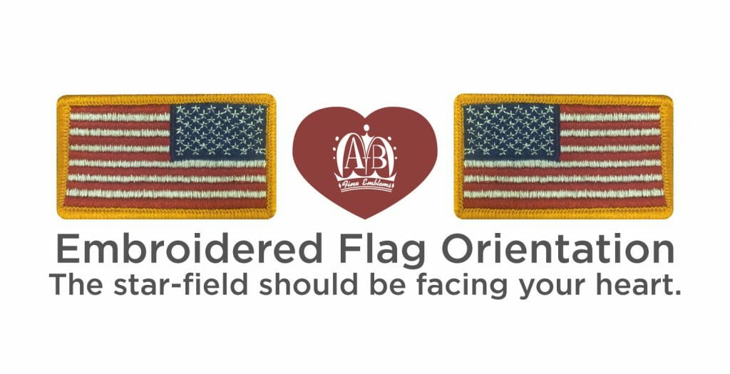 Embroidered Flag Orientation: The star-field should be facing your heart.